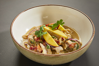 CROAKER AND RED SHRIMP CEVICHE WITH MANGO