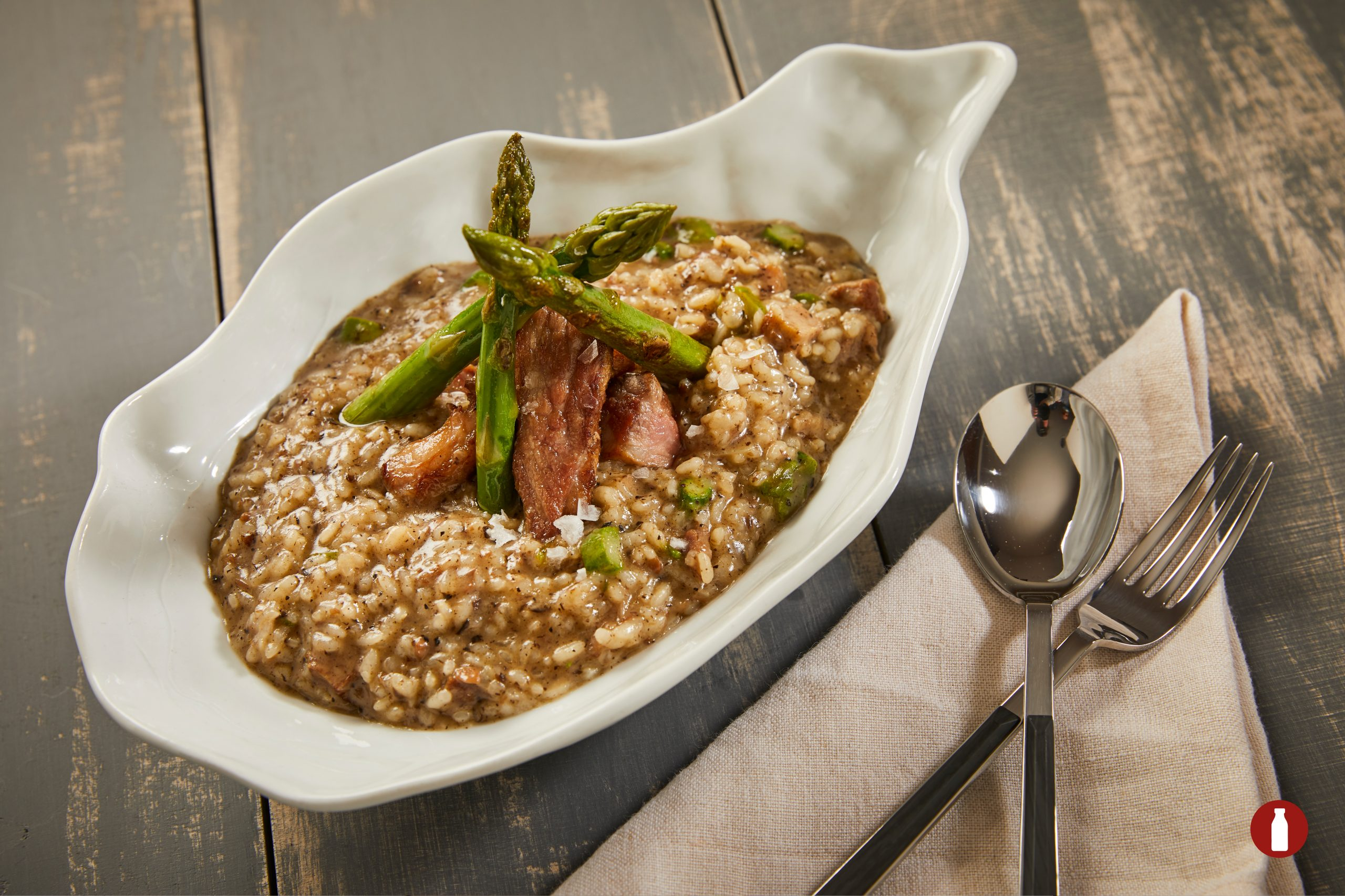 CREAMY RICE WITH IBERIAN SIRLOIN, GREEN ASPARAGUS AND TRUFLE