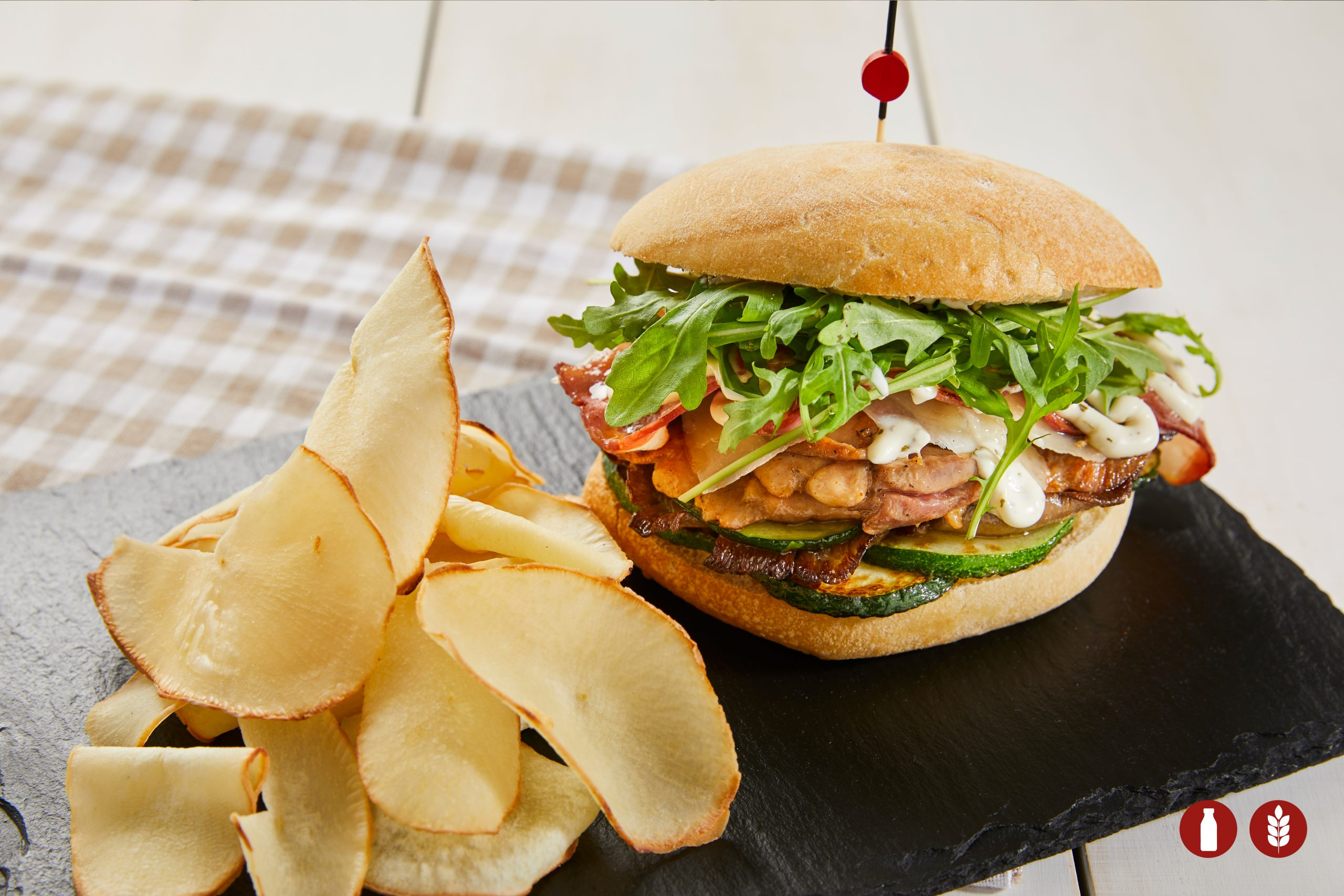MARINATED CHICKEN SANDWICH WITH YUCA CHIPS
