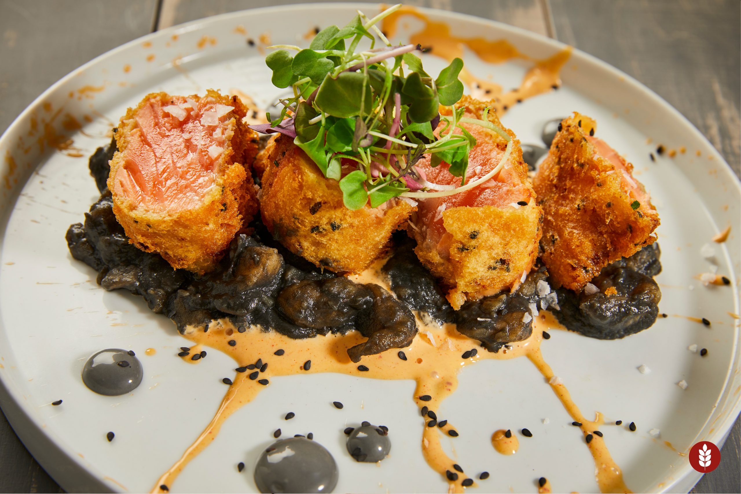 TEMPURA SALMON WITH BLACK GARLIC PARMETIER