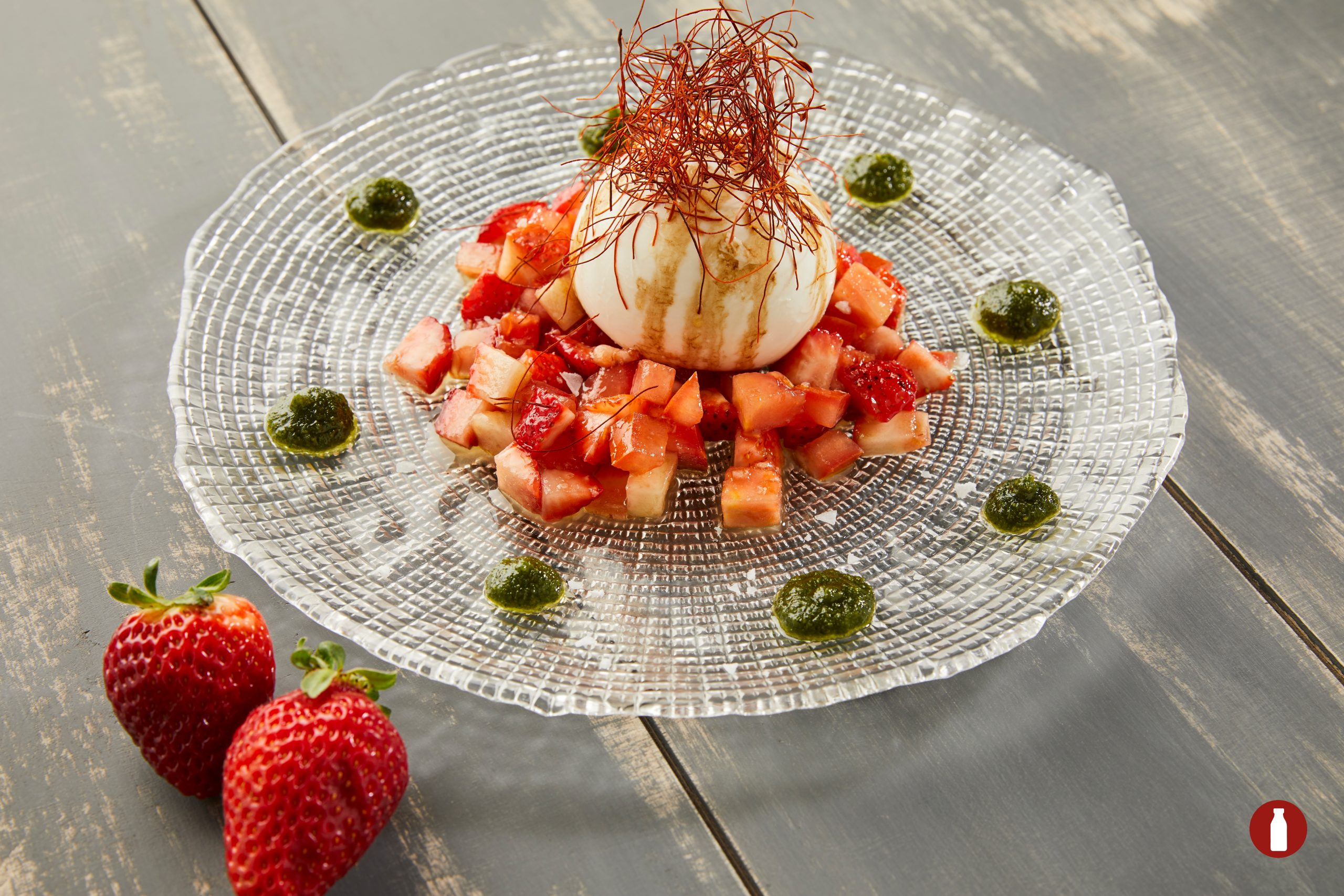 TALIAN BURRATA OVER A STRAWBERRY AND TOMATO TARTAR