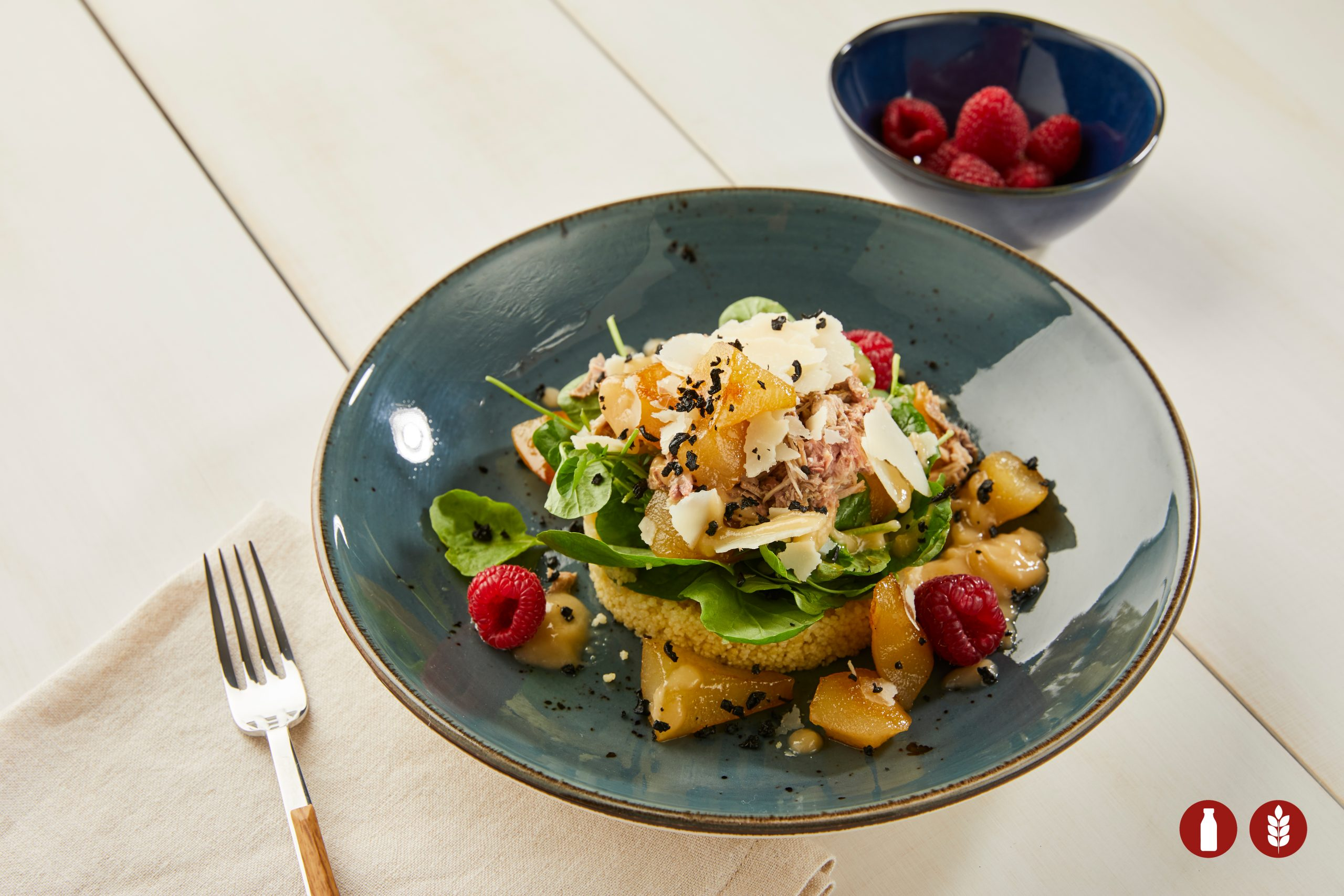 WATERCRESS SALAD WITH MARINATED PARTRIDGE AND CARAMELIZED PEARS