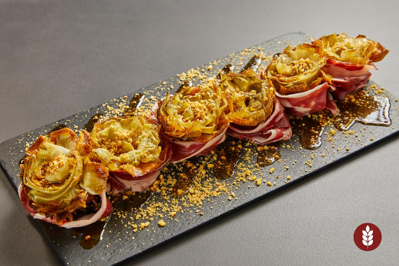 Alcachofas fritas con jamón ibérico